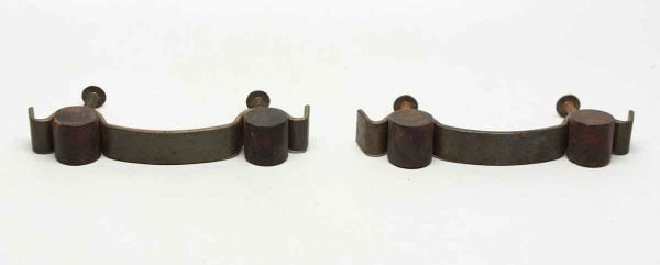 Pair of Bronze Curved Pulls with Bakelite Detail