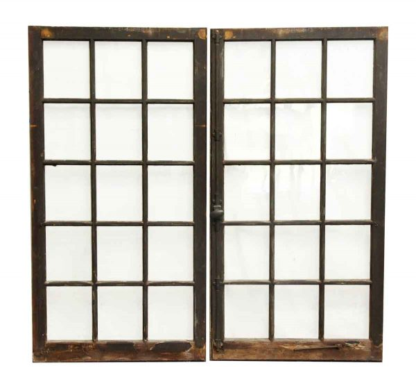 Pair of Reclaimed 15 Glass Pane Windows