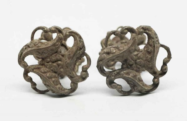 Pair of Brass Drawer Knobs with Matching Rosettes