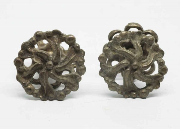 Pair of Small Floral Metal Cut Out Pulls