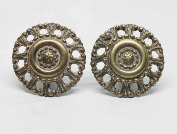 Pair of Round Decorative Brass Pulls