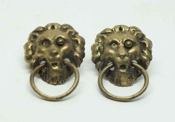 Pair of Pressed Brass Lion Head Pulls