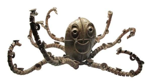 Scrap Metal Octopus with Rock Face
