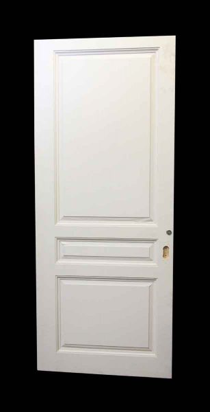 Wide White Three Panel Wood Door