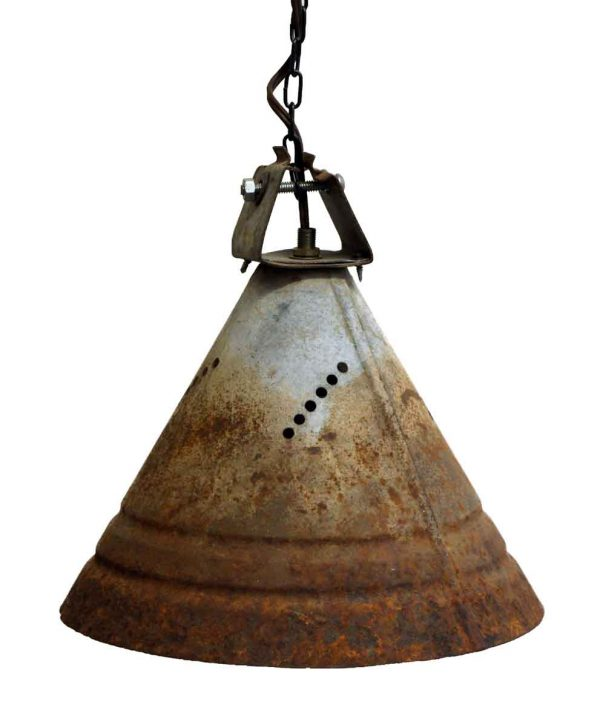 Set of Three Industrial Tin Cone Lights