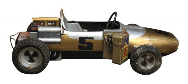 No. 5 Silver & Gold Race Car Kiddy Ride