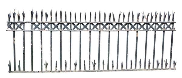 Split Finial Wrought Iron Fence with Cast Detail