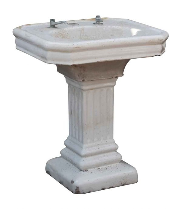 19th Century Earthenware Pedestal Sink