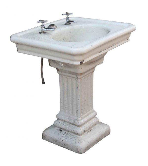 Fluted Pedestal Base Earthenware Sink