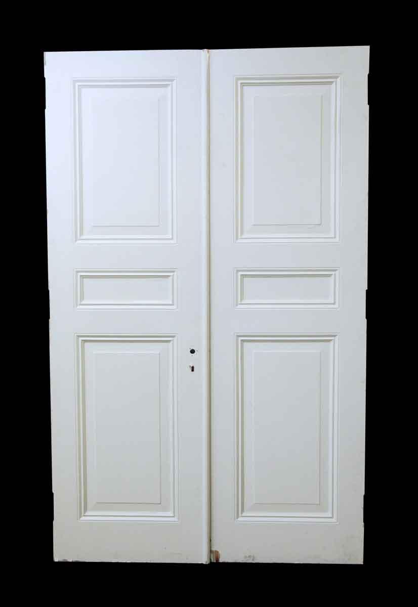 Pair Of White Wooden Triple Panel Doors Olde Good Things