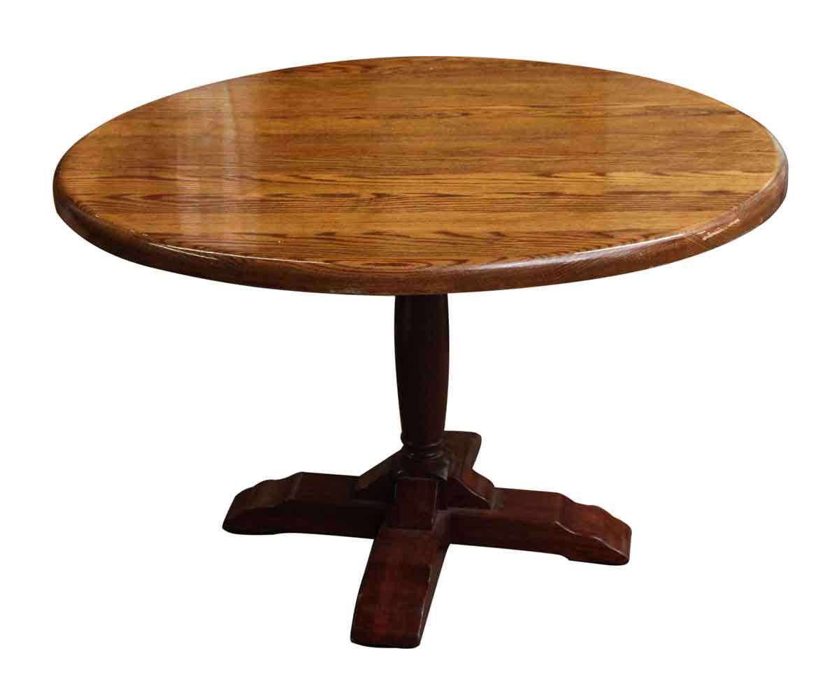 Contemporary Round Pedestal Oak Table Olde Good Things