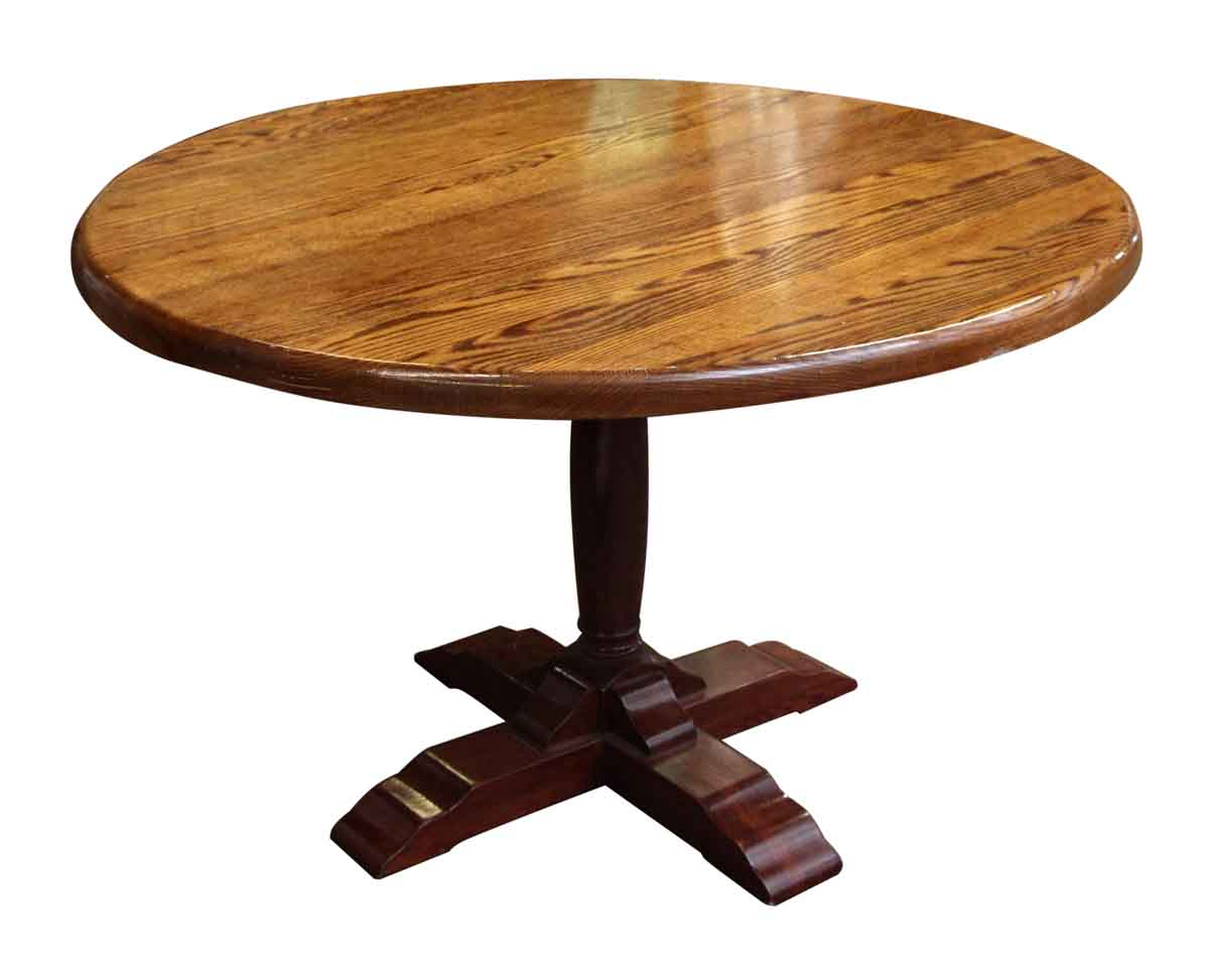Oak Pedestal Table ~ Contemporary round pedestal oak table olde good things