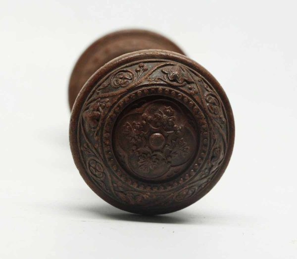 Pair of Victorian Wooden Carved Knobs with Concentric Knobs