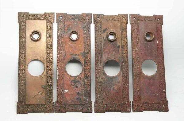 Set of Four Bronze Decorative Plates with Leaf Design