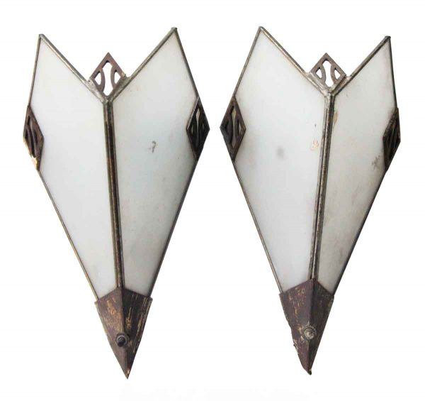 Pair of Metal and Glass Deco Sconces