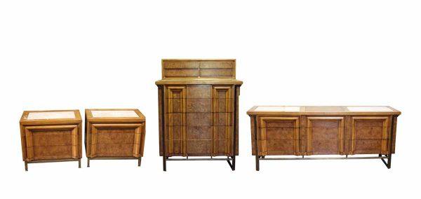 Four Piece Cherry Wood Dresser Set