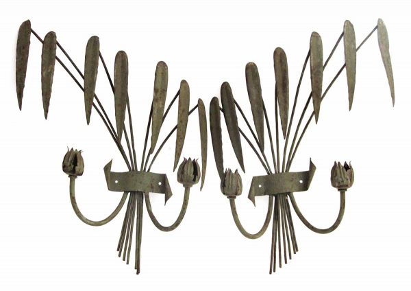 Pair of French Iron Candelabra Sconces with Fern Motif