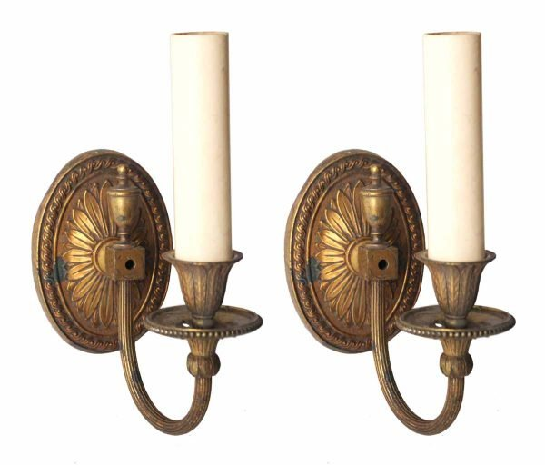 Pair of Single Arm Bronze Sconces