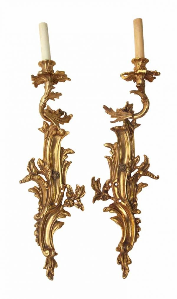 Pair of French Style Gilded Brass Floral Sconces