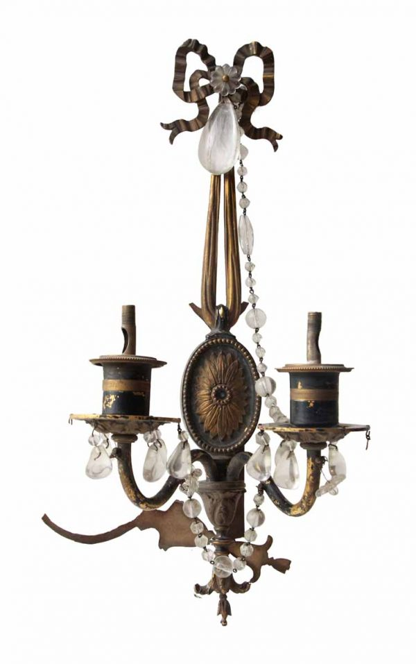 Tall Two Arm Sconce with Flower Motif & Crystal Beading