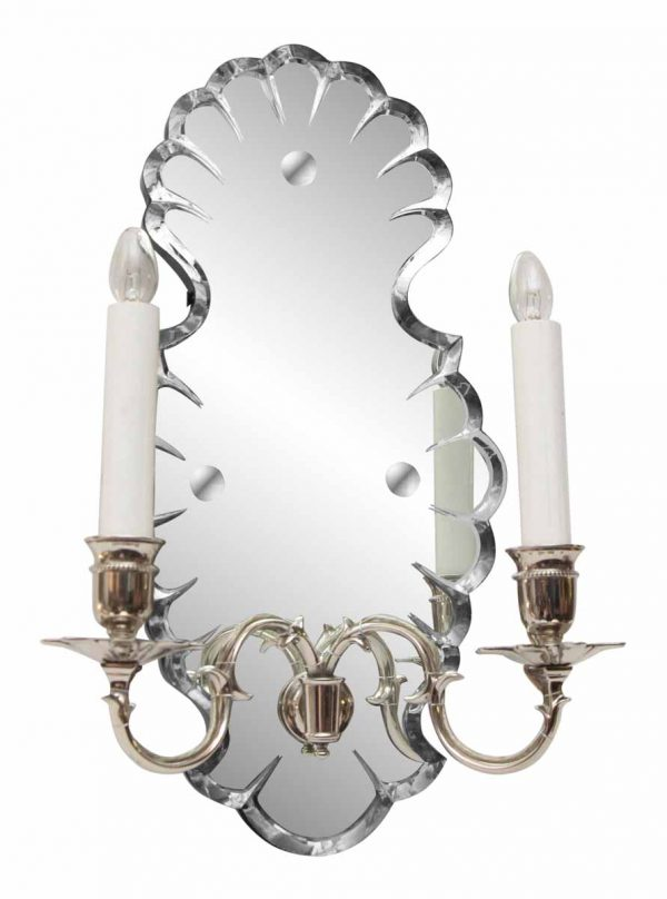 Etched Mirrored Two Arm Sconce