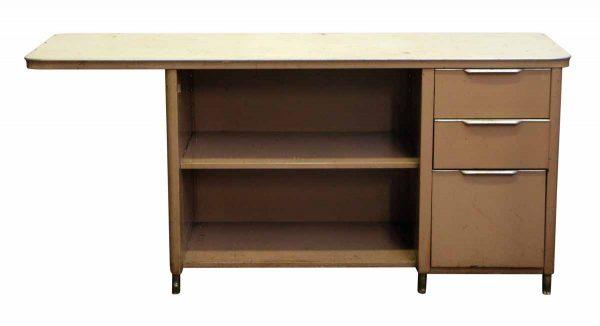 Beige Metal Three Drawer Desk