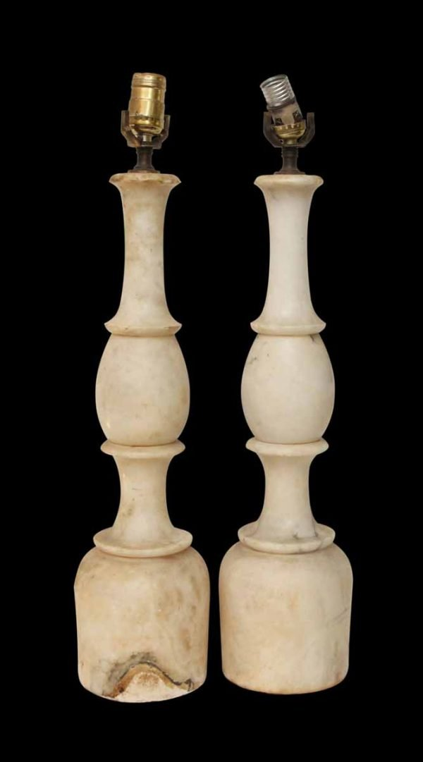 Pair of White Marble Table Lamps
