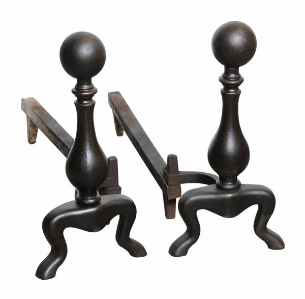 Pair of American Black Ball Top Andirons
