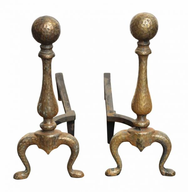 Pair of Hammered Arts & Crafts Andirons