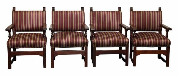 Set of Four Striped Chairs