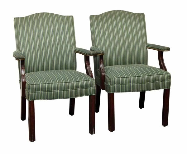 Pair of Green Striped Chairs