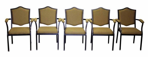 Set of Five Upholstered Chairs with Black Metal Frame