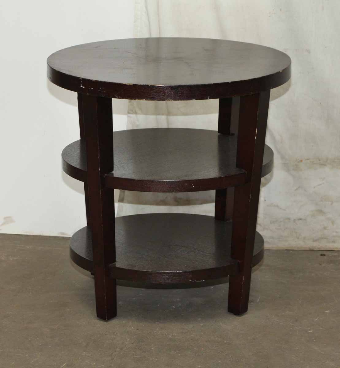 three tier round wood end tables pair olde good things. Black Bedroom Furniture Sets. Home Design Ideas
