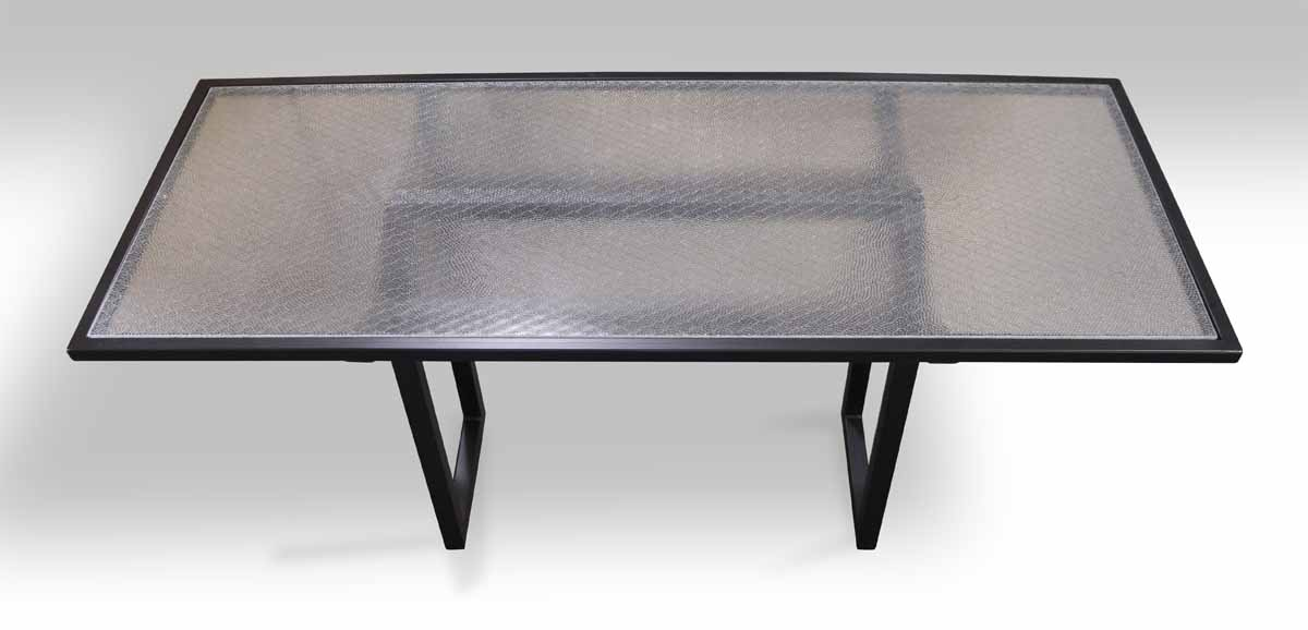 Metal U0026 Pebbled Chicken Wire Glass Top Table