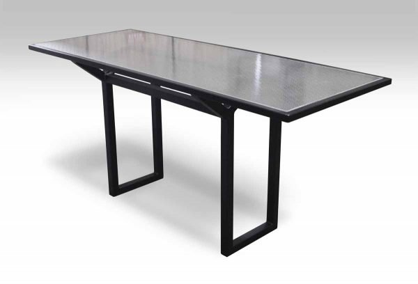 Metal & Pebbled Chicken Wire Glass Top Table