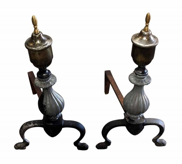 Pair of Fluted Brass Andirons