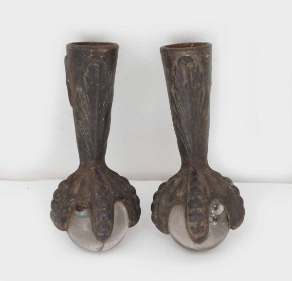 Pair of Iron Claw Feet with Glass Ball