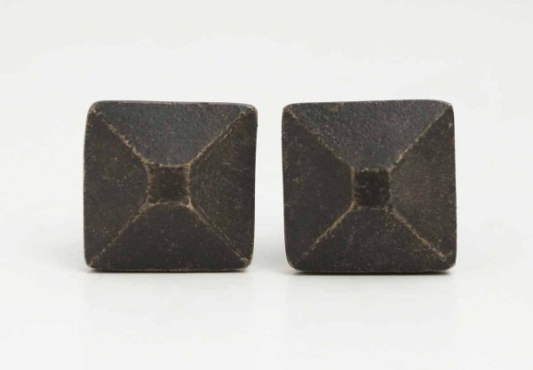 Pair of Bronze Geometric Knobs