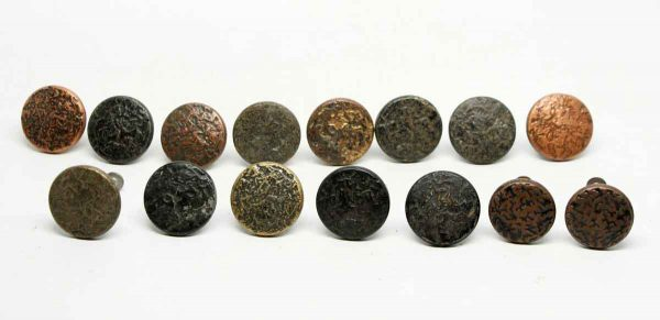 Set of 15 Textured Arts & Crafts Cabinet Knobs