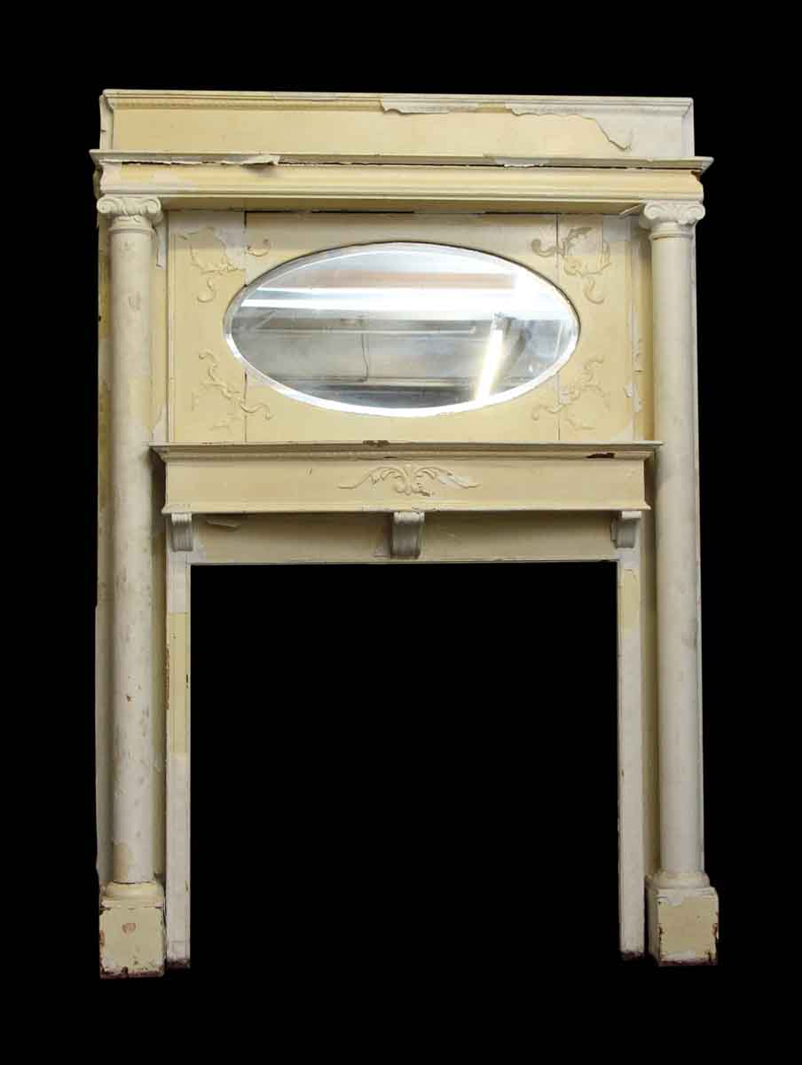 white victorian wood mantel with oval mirror olde good. Black Bedroom Furniture Sets. Home Design Ideas