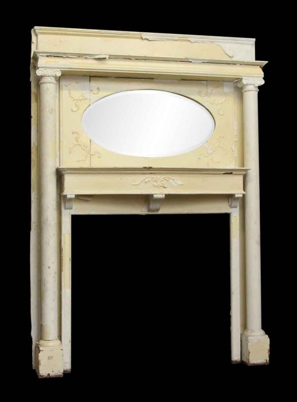 White Victorian Wood Mantel with Oval Mirror