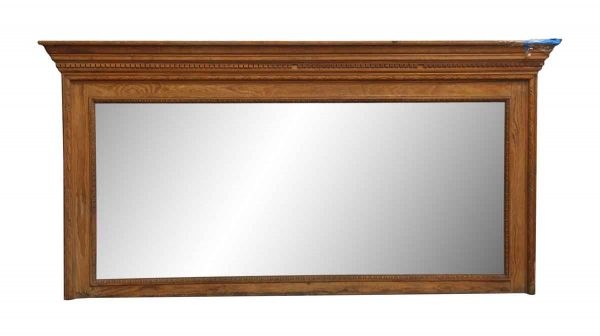 Oak Carved Over Mantel Mirror with Molded Cap