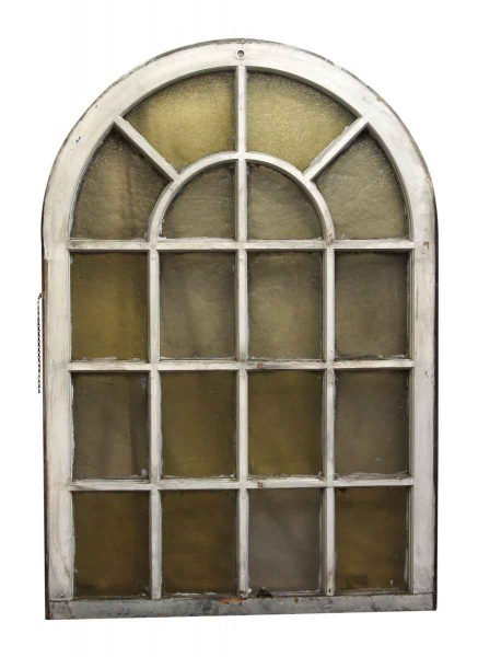 18 Variable Amber Glass Lite Arched Queen Anne Window