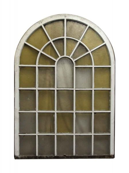 Pair of Arched Double Sash Queen Anne Amber Windows