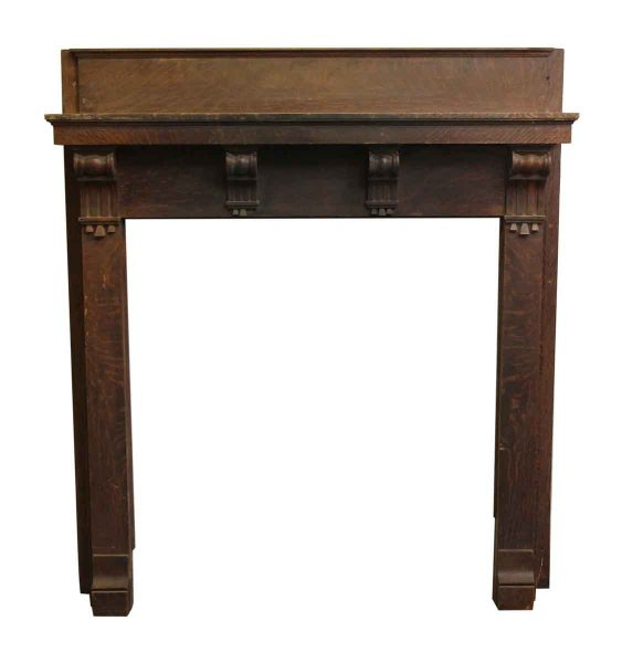 Simple Quarter Sawn Oak Mantel with Corbel Detail