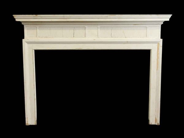 White Painted American Mantel with Tiered Shelf & Surround