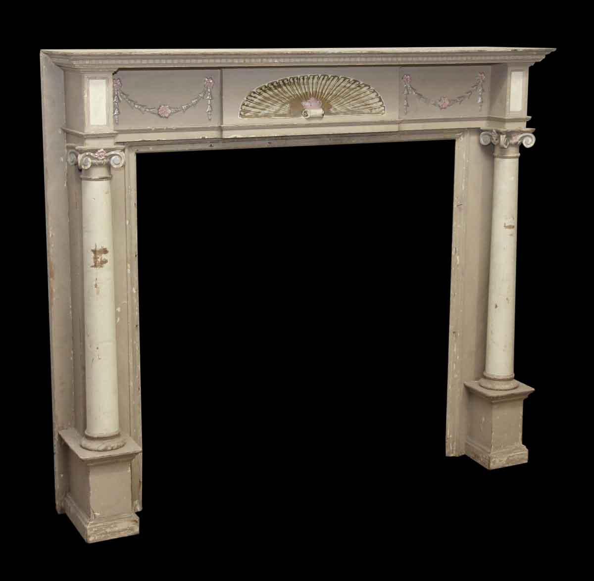 Decorative wooden mantel with fan detail ionic columns for Decorative structural columns