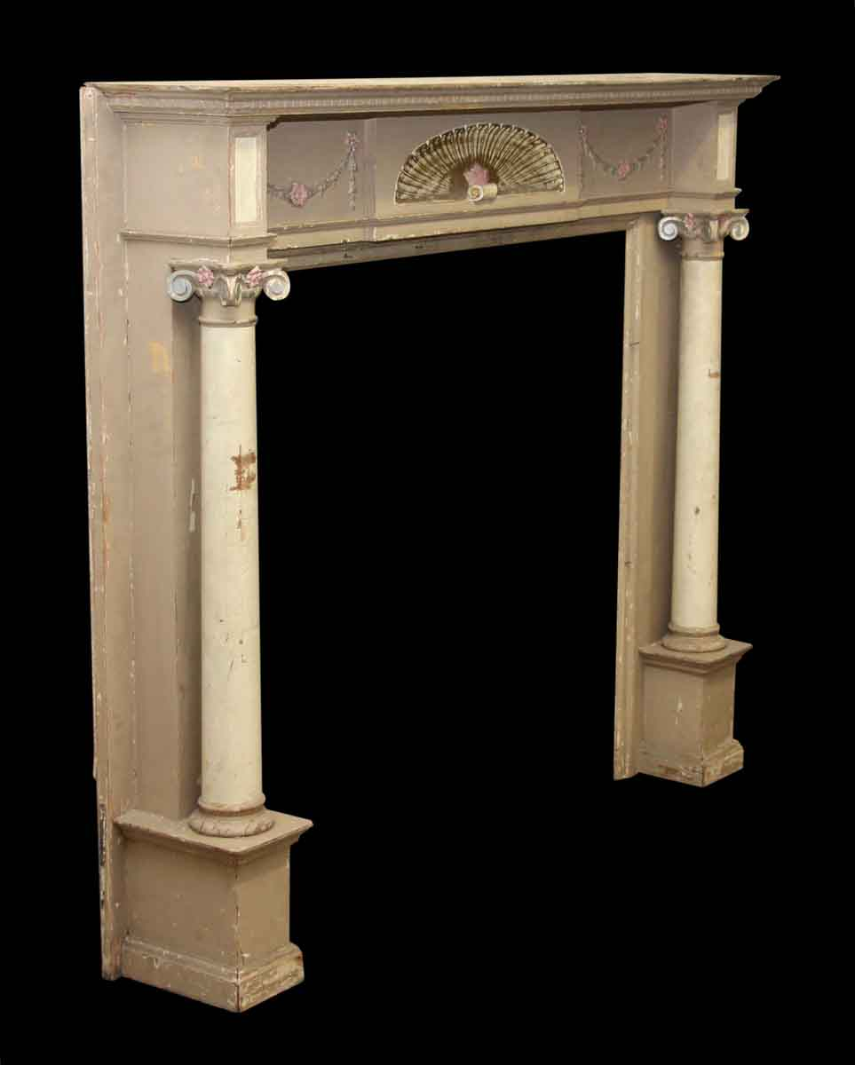 Decorative Wooden Mantel With Fan Detail Amp Ionic Columns