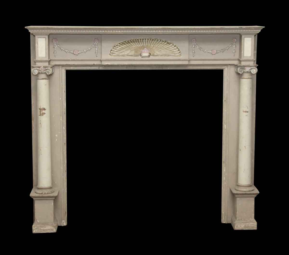 Decorative Wooden Mantel With Fan Detail Ionic Columns