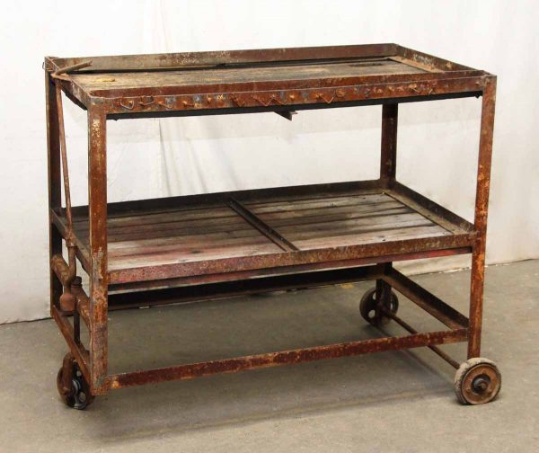 Industrial Rusted Metal & Wood Cart